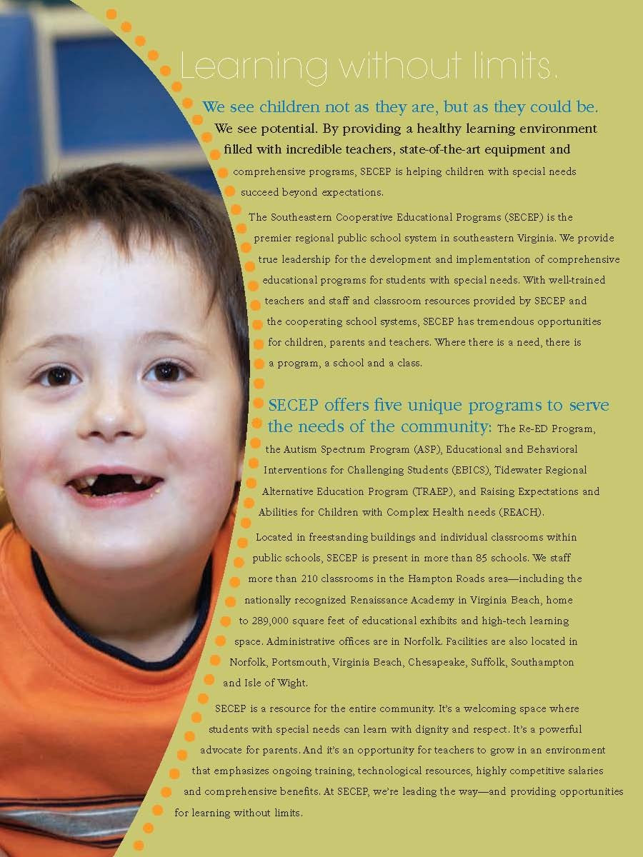 Please click on the image to open a high resolution PDF containing information about SECEP's Autism Spectrum Program