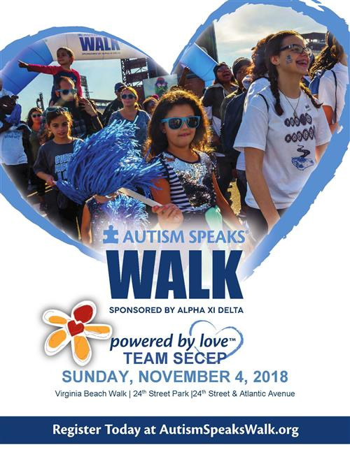 Join Team SECEP on November 4, 2018 as we walk with Autism Speaks in support of individuals with Autism.
